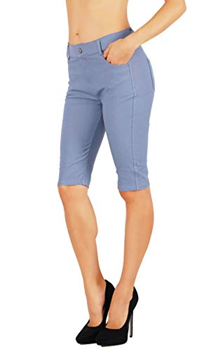 Fit Division Women's Jean Look Cotton Blend Jeggings Tights Slimming Full Lenght Capri and Classic Bermuda Shorts Leggings Pants S-3XL (M US Size 6-8, FDJN825-SGY)