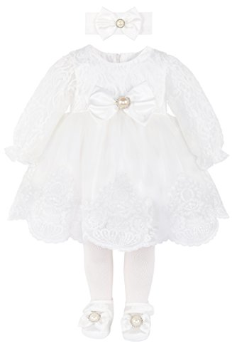 T.F. Taffy Taffy Baby Girl Newborn Christening Baptism Lace White Dress Gown 6 Piece Deluxe Set 0-3 Months (Gown Set Piece 3)