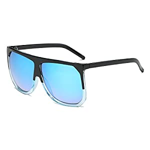 Amomoma Men's Women's Large Flat Top Oversized Sunglasses Big Mirror Lens AM2005 Black & Transparent/Blue Mirrored Lens