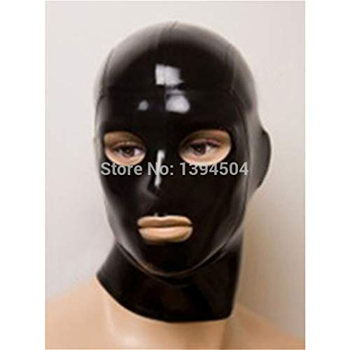 Hot New Sexy Lingerie Black Women Men Handmade Latex Hoods Eyes Mouth Open Mask Customized Size Solid Color Teddy Babydoll Red XS by VEFGDDWF