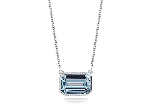 (2.50ctw Genuine Blue Topaz Octagon Emerald-Cut Pendant in Sterling Silver, 18'')
