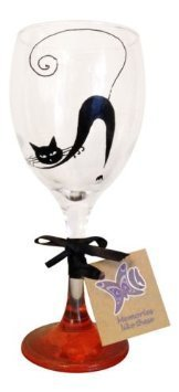 Orange Black Cat Hand Painted 340ml Wine Glass By Memories Like