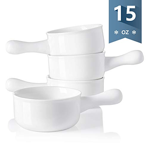 Sweese 109.101 Porcelain Onion Soup Bowls with Handles - 15 Ounce for Soup, Cereal, Stew, Chill, Set of 4, White (16 Oz Baking Dish)