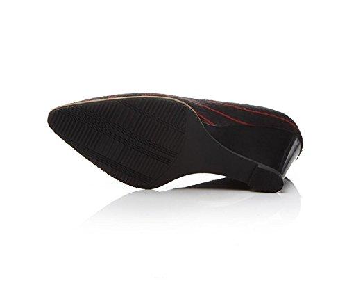Green High Pump 8 Verano Sandalias de 5cm Shallow Heels Pointed New Slope Zapatos Mujer Classic de Stripes 7a8qOpnx6w