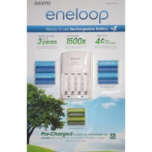 - eneloop Sanyo Ni-MH Charger and 8 Rechargeable AA and 4 Rechargeable AAA Batteries