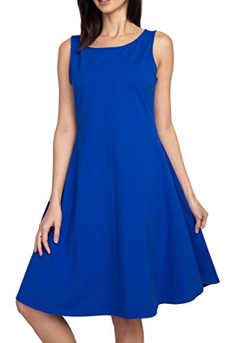 ICONOFLASH Women's Cotton Sleeveless Crew Neck A-Line Dress with Pockets Knee Length Color Royal Blue Size Large ()