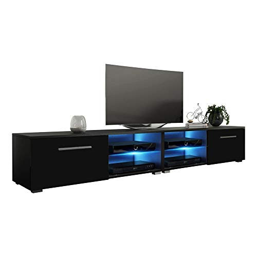 MEBLE FURNITURE & RUGS New Moon Modern TV Stand Matte Body High Gloss Doors with 16 Color LED (Black, 81