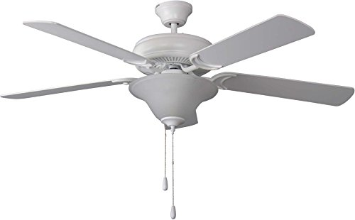 Craftmade Ceiling Fan with Light DCF52MWW5C1 Decorator's Choice Matte White 52 Inch ()