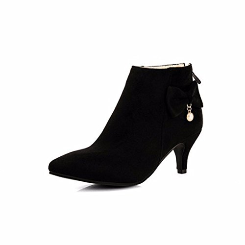Otoño invierno suede arco apuntado tacones elegantes botas cortas black