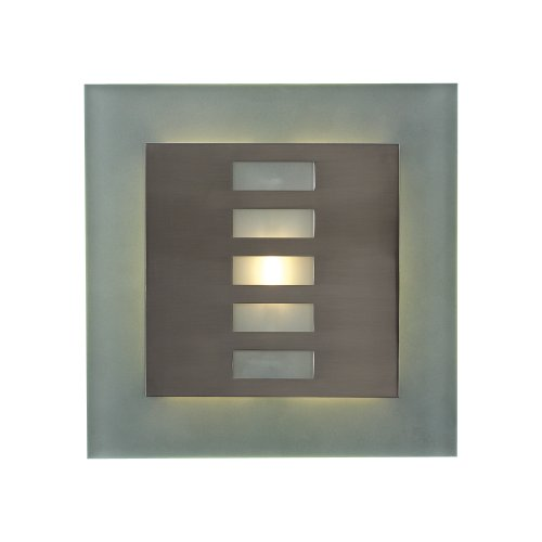 (PLC Lighting 2312 SN 1-Light Wall Sconce Soho-Ii Collection, Satin Nickel Finish and Acid Frosted Glass)