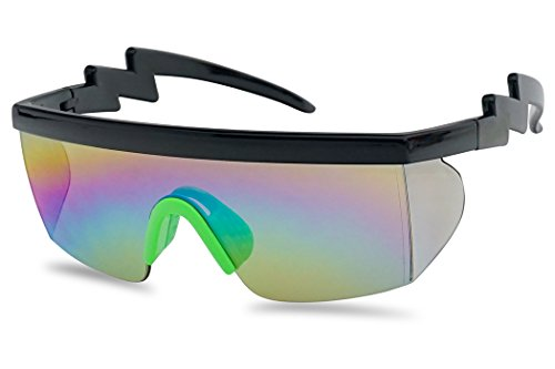 Large Wrap Around Rainbow Mirrored Semi Rimless Flat Top Shield Goggles Sunglasses (Black Green Frame | Rainbow Mirror) (Sunglasses Vanquish)