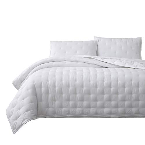 Chezmoi Collection Milo 3-Piece Soft Cooling Bamboo Fiber Cross-Stitch Quilted Coverlet Set (King, White)
