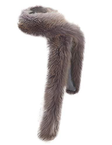 - NAFLEAP Women Winter Warm Faux Fox Fur Scarf Collar Long Wrap Scarf Stole Shawl Shrug (Silver-Grey, Onesize)