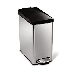 simplehuman 10-Liter Brushed Stainless Steel Slim Profile Step-On Trash Can with Black Plastic Lid