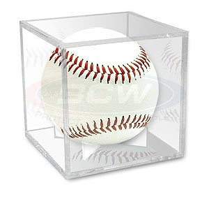 BallQube Grandstand Baseball Holder Display - A BETTER WAY TO DISPLAY Sports Memoriablia Display Case, Standard UV (Ballqube Baseball Holder)