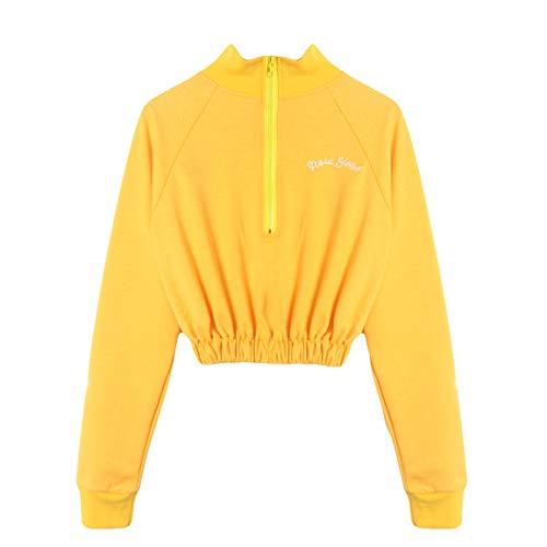 Casual sans Over Sweatshirt Longues 2018 Pull Femmes pour Mode Zip Manches Bretelles Longues Femmes Bellelove Jaune Pull Manches avec nqSw4xvx6