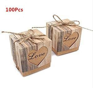 Pack of 100pcs Wedding Candy Box Romantic Heart Kraft Gift Box with Burlap Twine Chic Wedding Favors and Gifts Bag Party Supplies