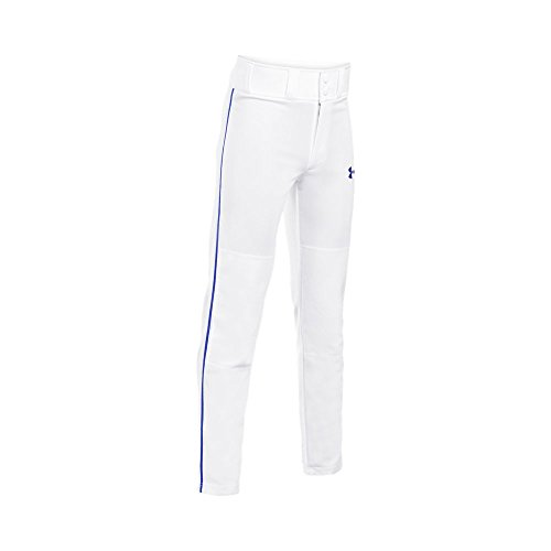Armor Pants - Under Armour Boys' Clean Up Piped Baseball Pants, White/Royal, Youth Large