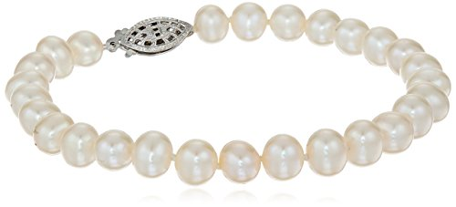 Sterling Silver A-Quality White Freshwater Cultured Pearl Bracelet (6.5-7mm), 7.25