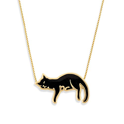 (Gold Plated Silver Cat Necklace Kitten Pendant Black Polymer Clay Handmade Jewelry, 16.5