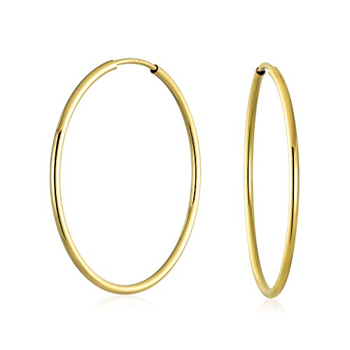Minimalist Round Endless Continuous Thin Tube 10K Yellow Gold Filled Hoop Earrings For Women Shinny Finish 1.5 inch - Hoop 10k Tube Earrings