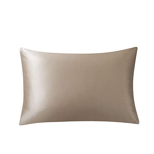 SARAFLORA 100% Pure Mulberry Silk Pillowcase for Hair and Skin - Super Soft and Smooth Real Natural Silk Bed Pillow Covers with Hidden Zipper, 19-Momme, 600 Thread Count, 1 Piece (Taupe, King)
