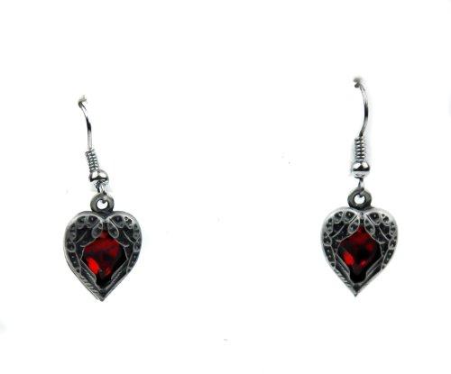 Fallen Dark Angel Wings & Red Heart Gothic Earrings