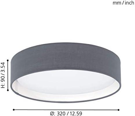 EGLO LED Deckenlampe Pasteri, 1 flammige Textil Deckenleuchte, Material: Stahl, Stoff, Kunststoff, Farbe: Grau, weiß, Ø: 32 cm