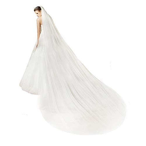 (Bridal Wedding Veil 2T Trailing Long Cut Edge with mental Comb Off-white)