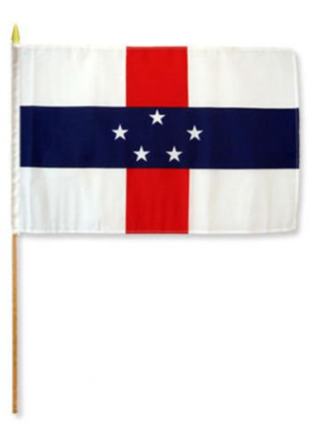 Note Antilles Netherlands (Moon Knives 12''x18'' Wholesale Lot of 6 Netherlands Antilles Holland Stick Flag - Party Decorations Supplies For Parades - Prime Outside, Garden, Men Cave Decor Flag)