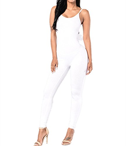 Xuan2Xuan3 Women Spaghetti Strap Bodycon Tank One Piece Jumpsuits Rompers Playsuit, White, Medium