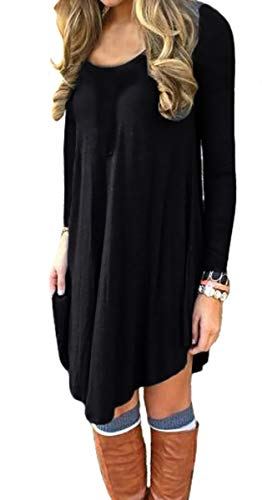 Round T Neck Dress Casual Sleeve black DEARCASE Loose Long Shirt Women's nqpHwxPz8