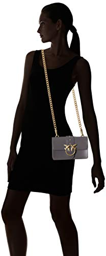 Tracolla Seta bolsos de Grigio Shoppers Mujer Gris y Vitello Love hombro Simply Mini Corvo Pinko twgxXSqUA
