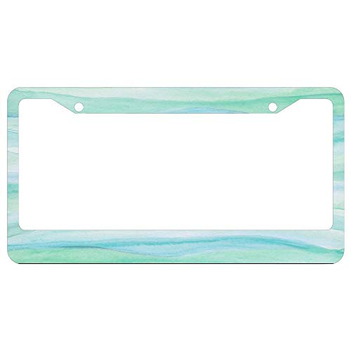 Agate Layers Abstract Blue Green Watercolor Aluminum Metal License Plate Frame and Screw Cap, Decor License Plate Frames for Women/Men 2 Holes