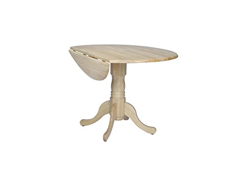 International Concepts T01-42DP 42-Inch Round Dual Drop Leaf Ped Table, Natural