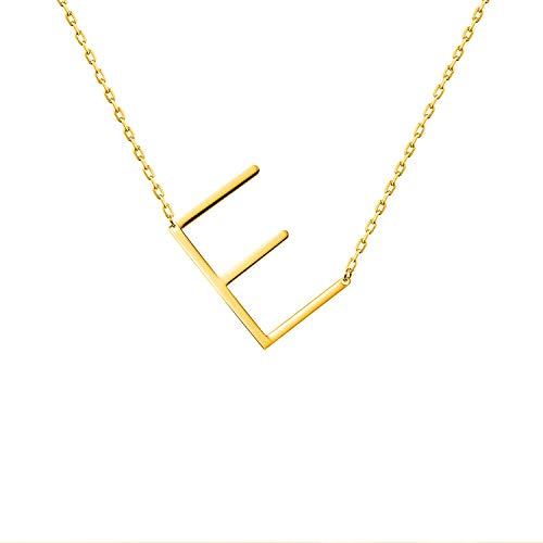 WIGERLON Stainless Steel Initial Letters Necklace for Women and Girls Color Gold and Silver from A-Z Letter E Color Gold