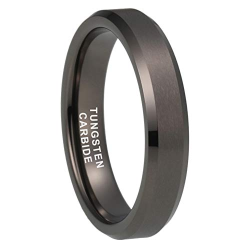 - iTungsten 4mm Gunmetal Tungsten Rings for Women Men Wedding Bands Matte Finish Beveled Edges Comfort Fit