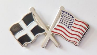 Cornwall County and United States of America Friendship National Twin Flag Pin Badge