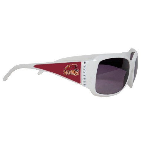 Loyola New Orleans Ladies White Rhinestone Sunglasses 'Official Logo' by CollegeFanGear