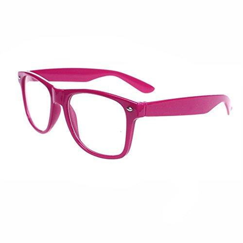 FancyG Classic Retro Fashion Style Clear Lenses Glasses Frame Eyewear - RedBerry/Wine