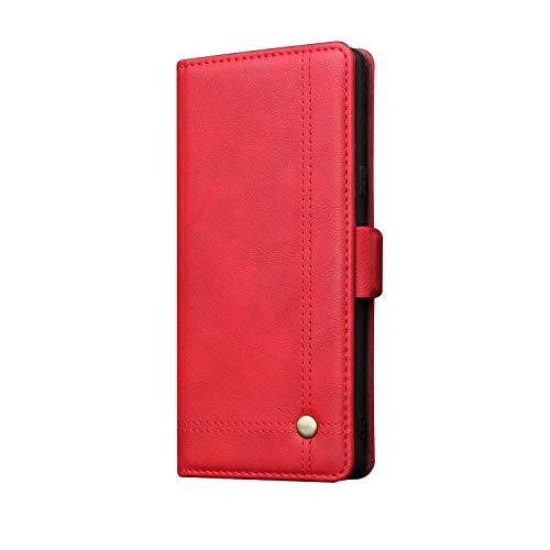Galaxy Note 9 Case Leather Wallet,TACOO Kickstand Cover Card Money Slot Magnet Fold Protection Red Phone Shell for Samsung Galaxy Note9 2018