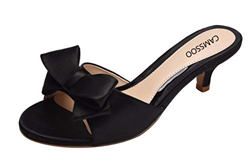 CAMSSOO Women's Summer Open Toe Satin Bowknot Sandals Low Heeled Slippers Slip On Shoes Black Size US8.5 CN40