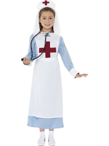 Smiffy's Children's WW1 Nurse Costume, Dress, Mock Apron and Headpiece, Ages 10-12, Size: Large, Color: Blue, (Nurse Costume For Kids)