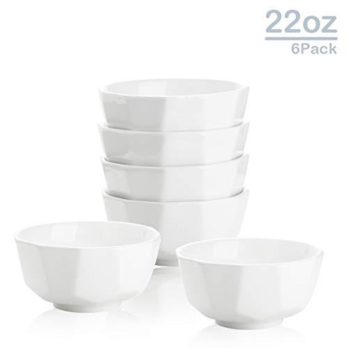 Zoneyila Porcelain Bowl Set,22 Oz Geometric Shape Serving Bowl for Cereal, Soup, Ramen, Rice Bowls, Set of 6, White