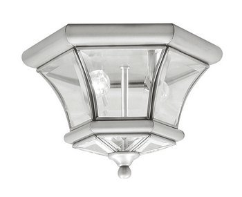 Livex Lighting 7052-91 Monterey 2 Light Outdoor/Indoor Brushed Nickel Finish Solid Brass Flush Mount with Clear Beveled Glass