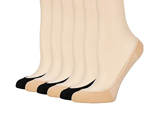 (Womens No Show Ultra Low Cut Liner Non Slip Cotton Socks with Grip Gel 6 Pairs (3Black+3Beige, 5-6.5))