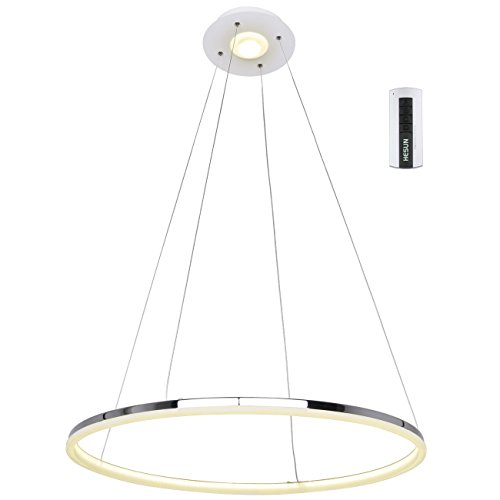 Ring Pendant Light - UNITARY BRAND Modern Warm White LED Acrylic Pendant Light Remote Control Included With 1 Ring Max 35W Chrome Finish 24 inches Diameter