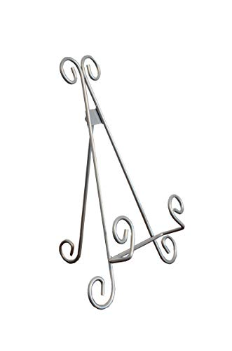 Maypes Heavy Duty Metal Artisan Curved Book Stand, Picture Frame Stand, Plaque Stand, Cook Book Stand, Silver