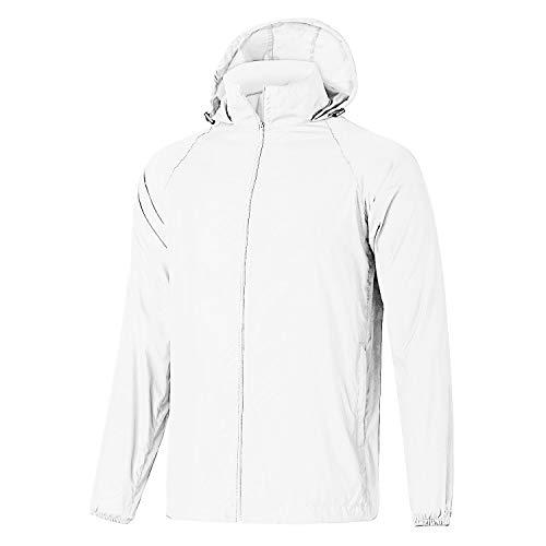 Little Giant Lighting - GEEK LIGHTING Windbreaker for Men, Outdoor Zipper Waterproof Lightweight Raincoat Windbreaker with Hooded (White, Large)