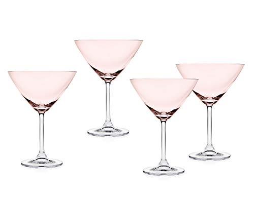 Godinger Meridian Martini Beverage Glass Goblet – Blush Pink -Set of 4